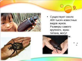 9. Существует около 400 тысяч известных видов жуков. Размеры самого крупного,