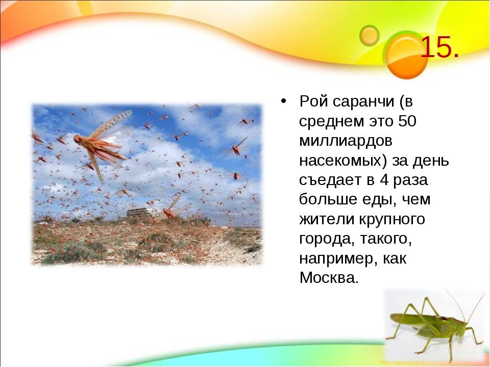 15. Рой саранчи (в среднем это 50 миллиардов насекомых) за день съедает в 4 р...