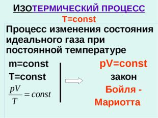 ИЗОТЕРМИЧЕСКИЙ ПРОЦЕСС T=const Процесс изменения состояния идеального газа пр