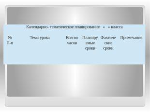 Календарно- тематическое планирование« »класса № П-п Темаурока Кол-во часов П