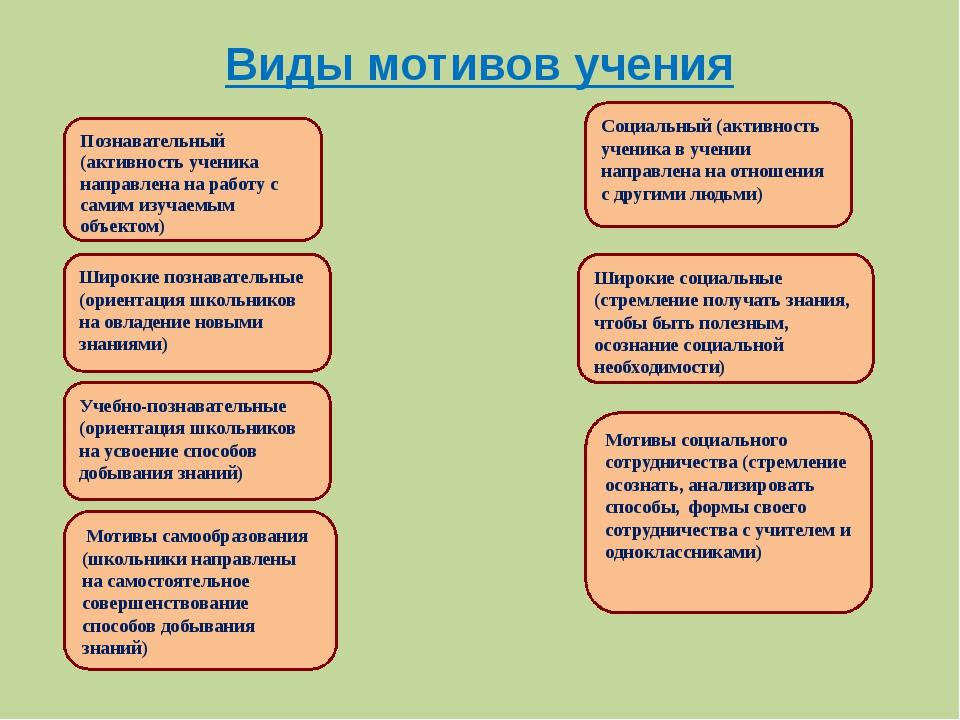 Виды мотивов учения Познавательный (активность ученика направлена на работу с...