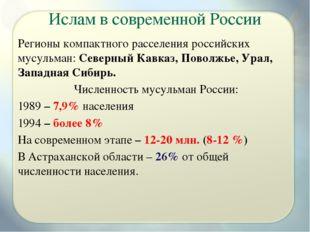 Ислам в современной России Регионы компактного расселения российских мусульма