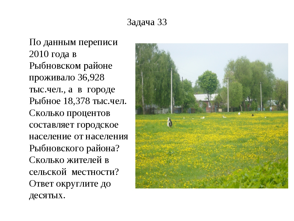Задача 33 По данным переписи 2010 года в Рыбновском районе проживало 36,928 т...