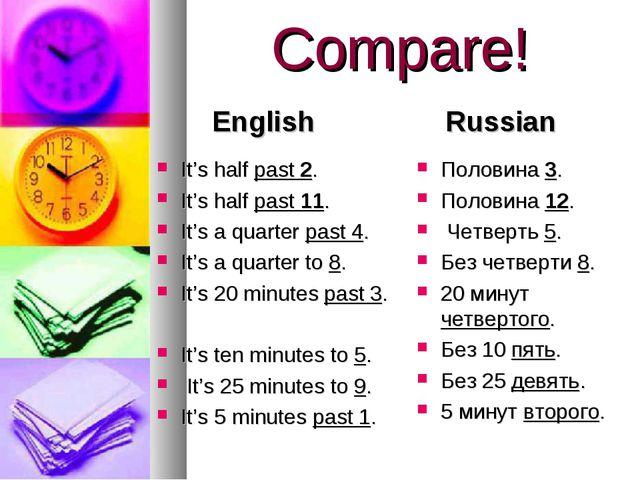 Compare! English It's half past 2. It's half past 11. It's a quarter past 4....