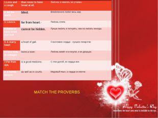 Сопоставить пословицы MATCH THE PROVERBS 1.Love and a cough  than never to h