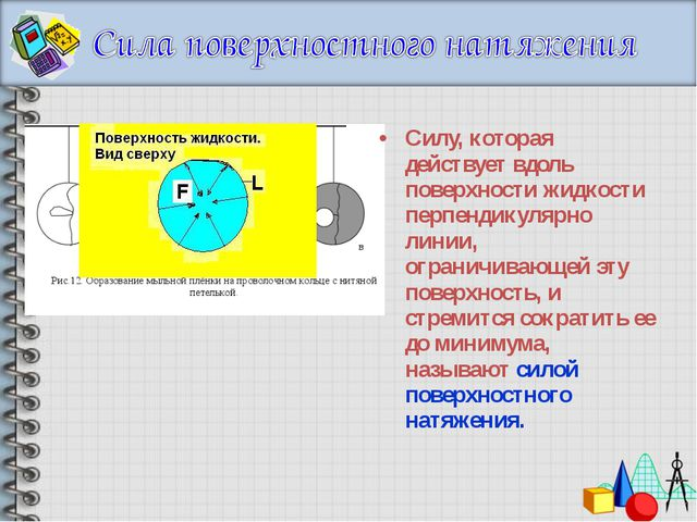 Силу, которая действует вдоль поверхности жидкости перпендикулярно линии, огр...