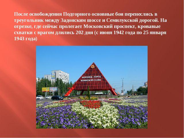 После освобождения Подгорного основные бои перенеслись в треугольник между За...