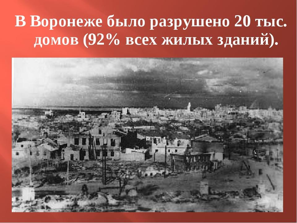 В Воронеже было разрушено 20 тыс. домов (92% всех жилых зданий).