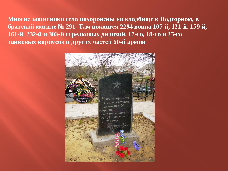 Многие защитники села похоронены на кладбище в Подгорном, в братской могиле №...