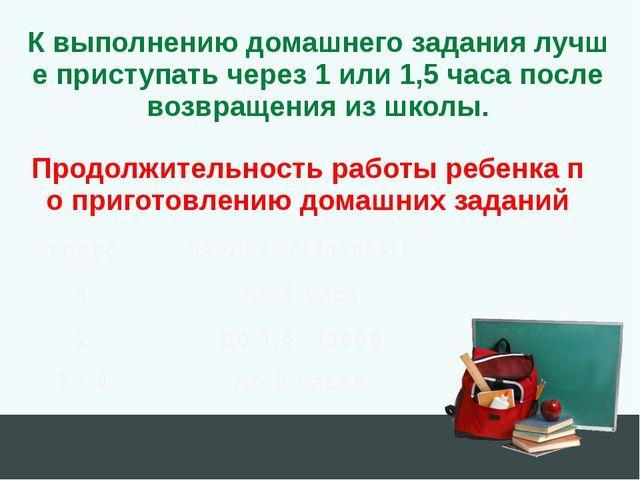 Продолжительность работы ребенка по приготовлению домашних заданий К выполнен...