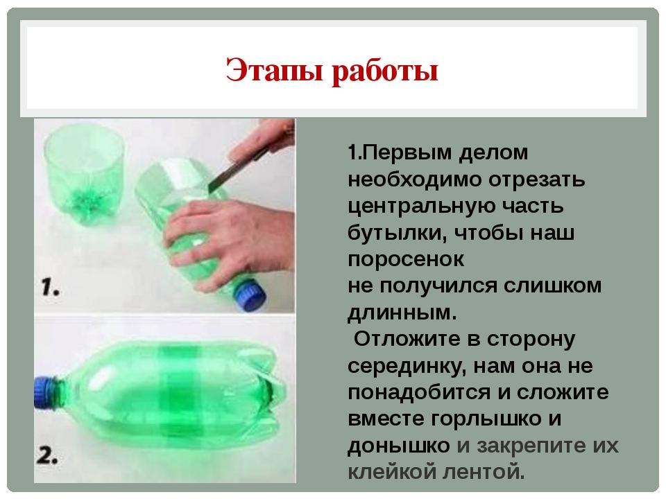 Этапы работы 1.Первым делом необходимо отрезать центральную часть бутылки, чт...