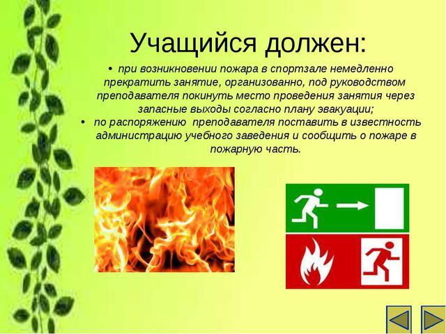Учащийся должен: при возникновении пожара в спортзале немедленно прекратить з...
