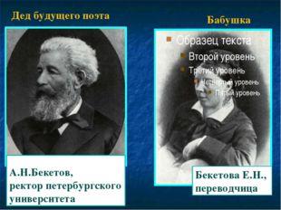 Бекетова Е.Н., переводчица А.Н.Бекетов, ректор петербургского университета Де