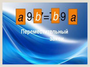 9+7=7+9 a a b b Переместительный закон