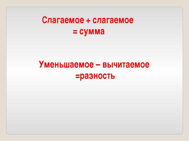 Слагаемое + слагаемое = сумма Уменьшаемое – вычитаемое =разность