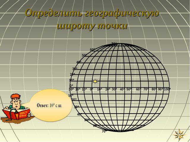 Определить географическую широту точки