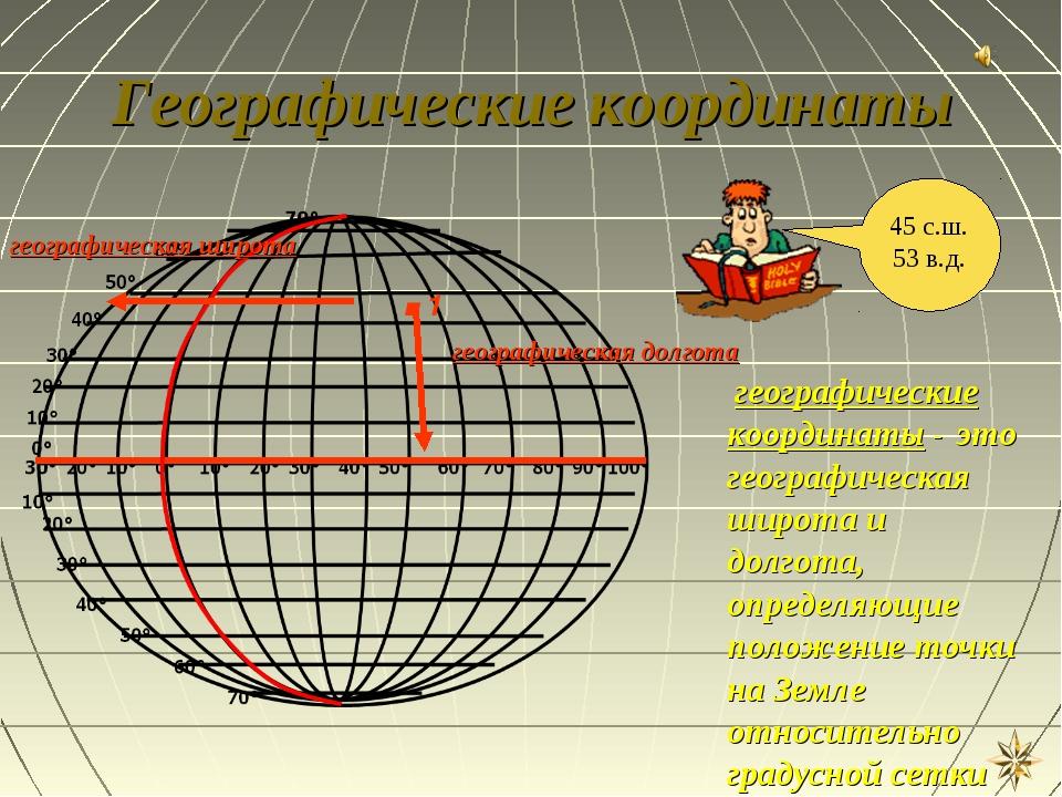 Географические координаты .1 географическая широта географическая долгота гео...
