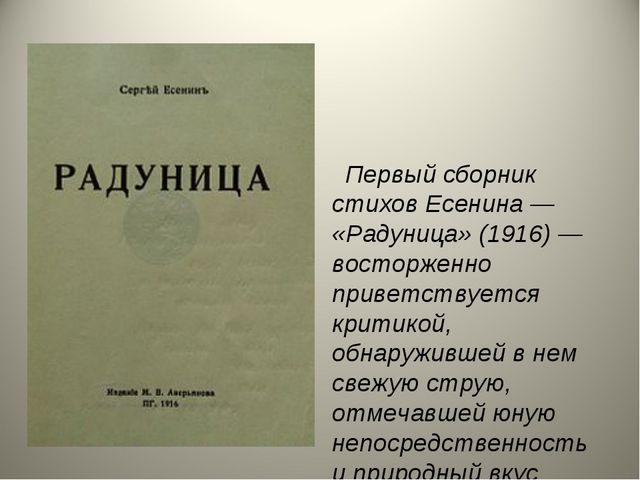 Первый сборник стихов Есенина — «Радуница» (1916) — восторженно приветствует...