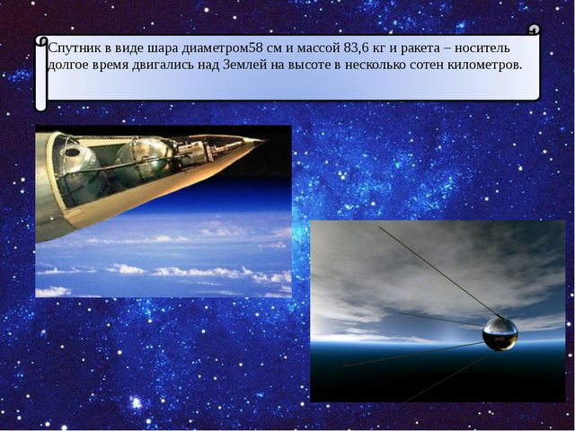 Спутник в виде шара диаметром58 см и массой 83,6 кг и ракета – носитель долго...