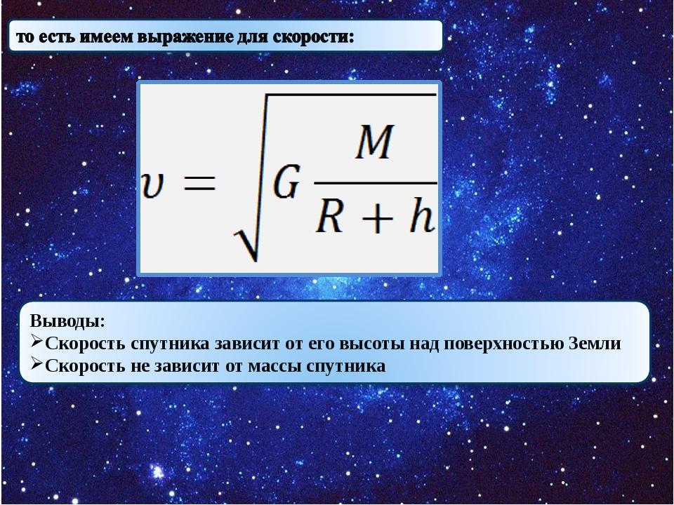 Выводы: Скорость спутника зависит от его высоты над поверхностью Земли Скоро...