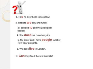 1. Has he ever been in Moscow? 2. Rabbits are silly and funny. 3.I decided to