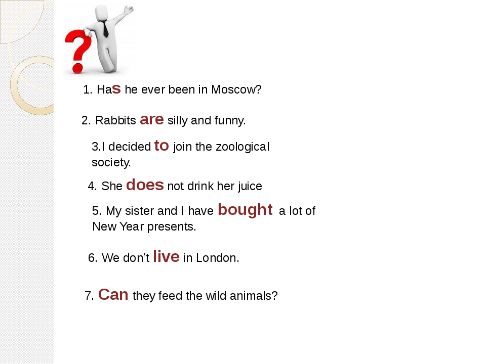 1. Has he ever been in Moscow? 2. Rabbits are silly and funny. 3.I decided to...