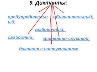9. Диктанты: предупредительный; объяснительный; выборочный; свободный; зрител