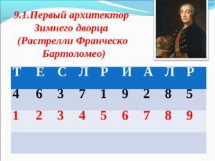 9.1.Первый архитектор Зимнего дворца (Растрелли Франческо Бартоломео) Т  Е
