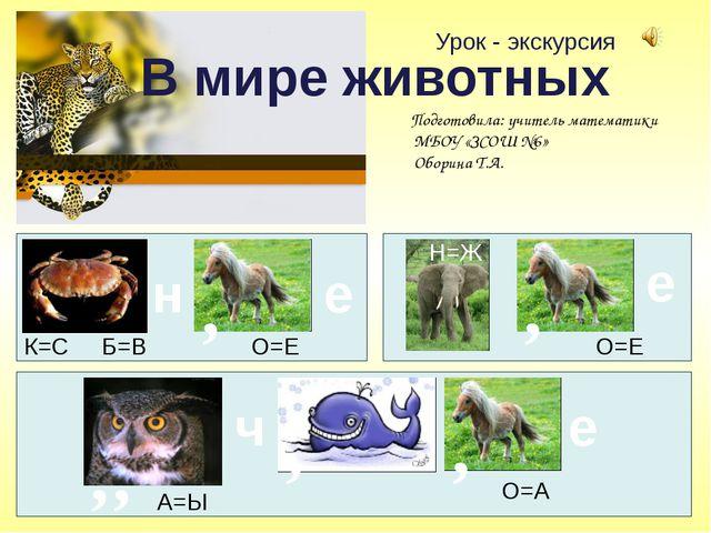 Урок - экскурсия В мире животных н е К=С Б=В О=Е , Н=Ж е , О=Е , , А=Ы ч , ,...