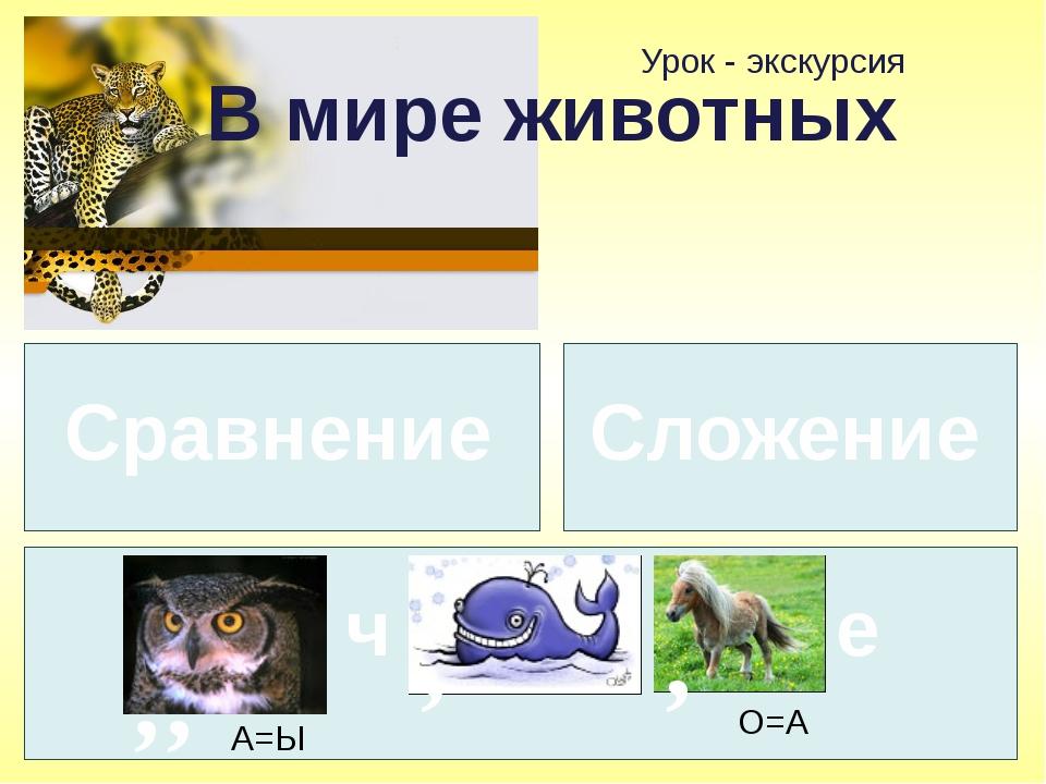 Урок - экскурсия В мире животных Сравнение , , А=Ы ч , , О=А е Сложение