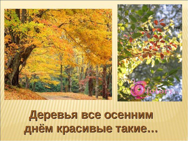 Деревья все осенним днём красивые такие…