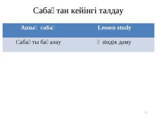 Сабақтан кейінгі талдау * Ашық сабақLesson study Сабақты бағалауӨзіндік даму