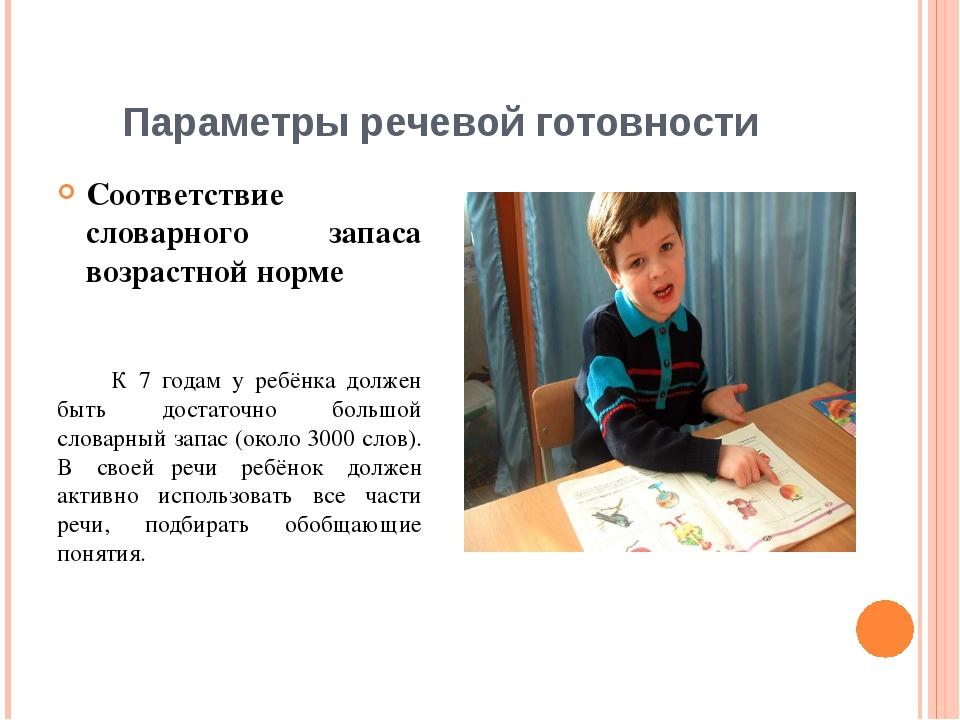 Параметры речевой готовности Соответствие словарного запаса возрастной норме...