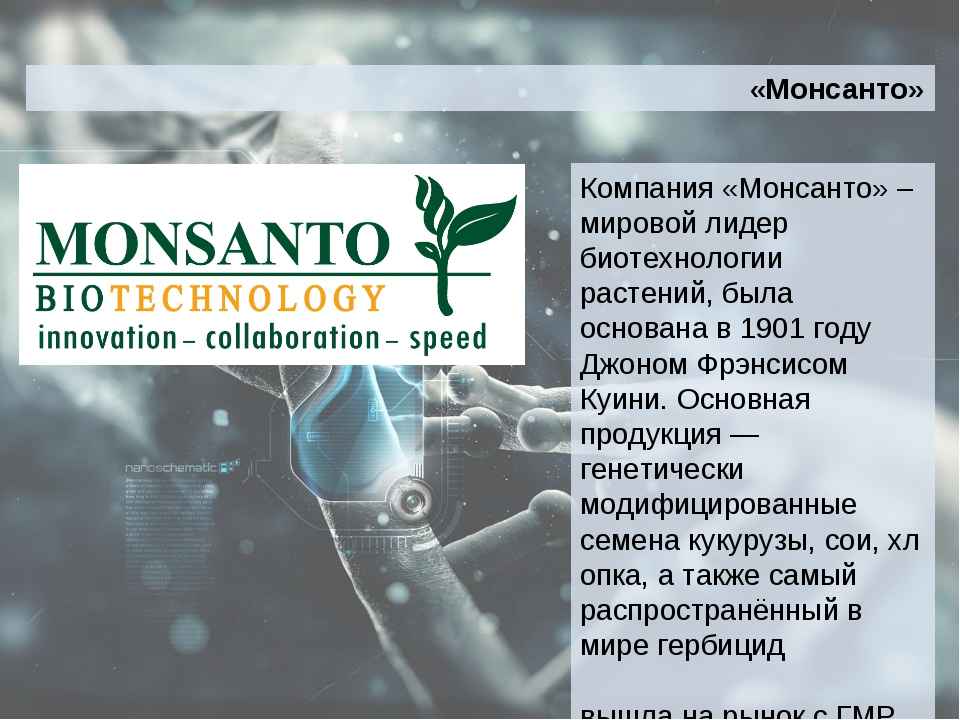 Компания «Монсанто» –мировой лидер биотехнологии растений, была основана в 19...
