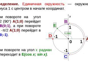 Определение. Единичная окружность — окружность радиуса 1 с центром в начале