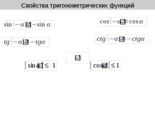 Свойства тригонометрических функций