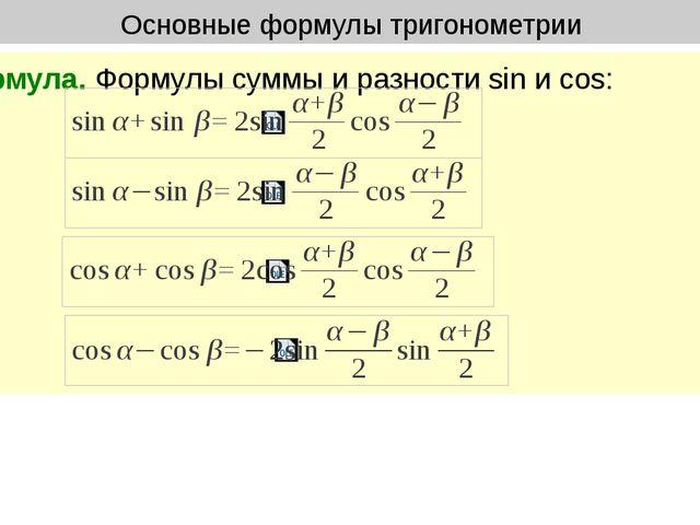 Основные формулы тригонометрии Формула. Формулы суммы и разности sin и cos: