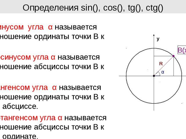 Определения sin(), cos(), tg(), ctg() y x Синусом угла α называется отношение...