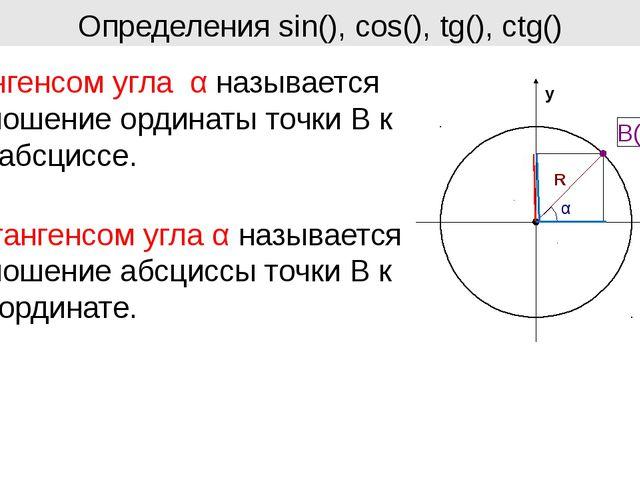 Определения sin(), cos(), tg(), ctg() Тангенсом угла α называется отношение о...
