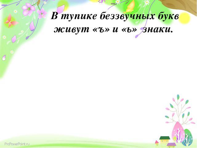В тупике беззвучных букв живут «ъ» и «ь» знаки. ProPowerPoint.ru