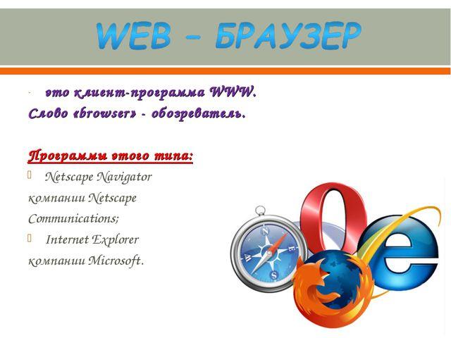 это клиент-программа WWW. Слово «browser» - обозреватель. Программы этого тип...