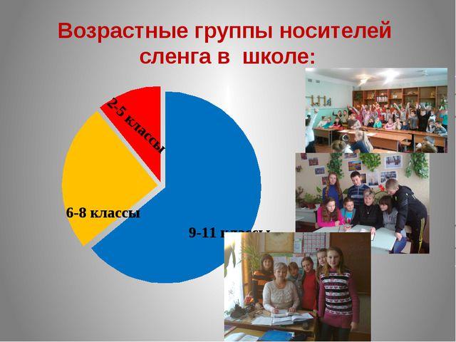 Возрастные группы носителей сленга в школе: