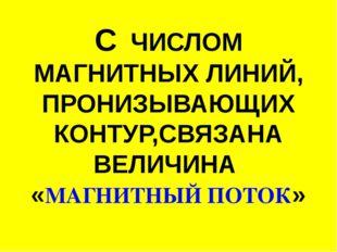 С ЧИСЛОМ МАГНИТНЫХ ЛИНИЙ, ПРОНИЗЫВАЮЩИХ КОНТУР,СВЯЗАНА ВЕЛИЧИНА «МАГНИТНЫЙ ПО