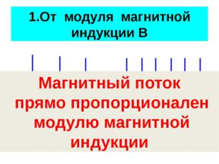 1.От модуля магнитной индукции В Магнитный поток прямо пропорционален модулю