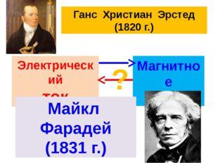 Ганс Христиан Эрстед (1820 г.) Электрический ток Магнитное поле ? Майкл Фарад