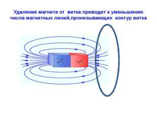 Удаление магнита от витка приводит к уменьшению числа магнитных линий,пронизы