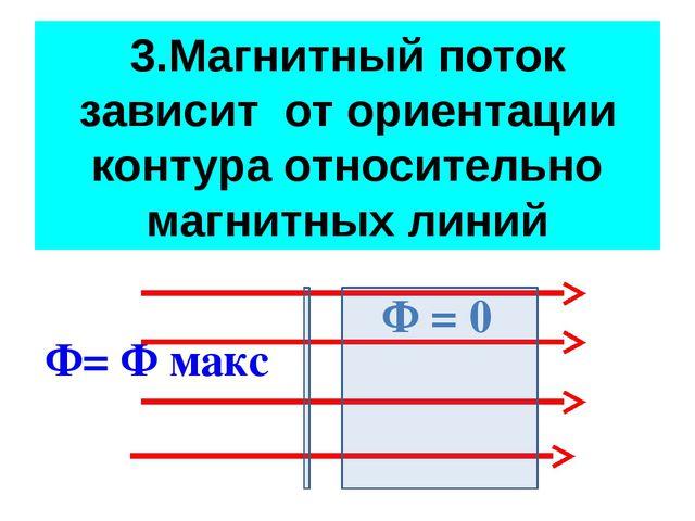 3.Магнитный поток зависит от ориентации контура относительно магнитных линий...