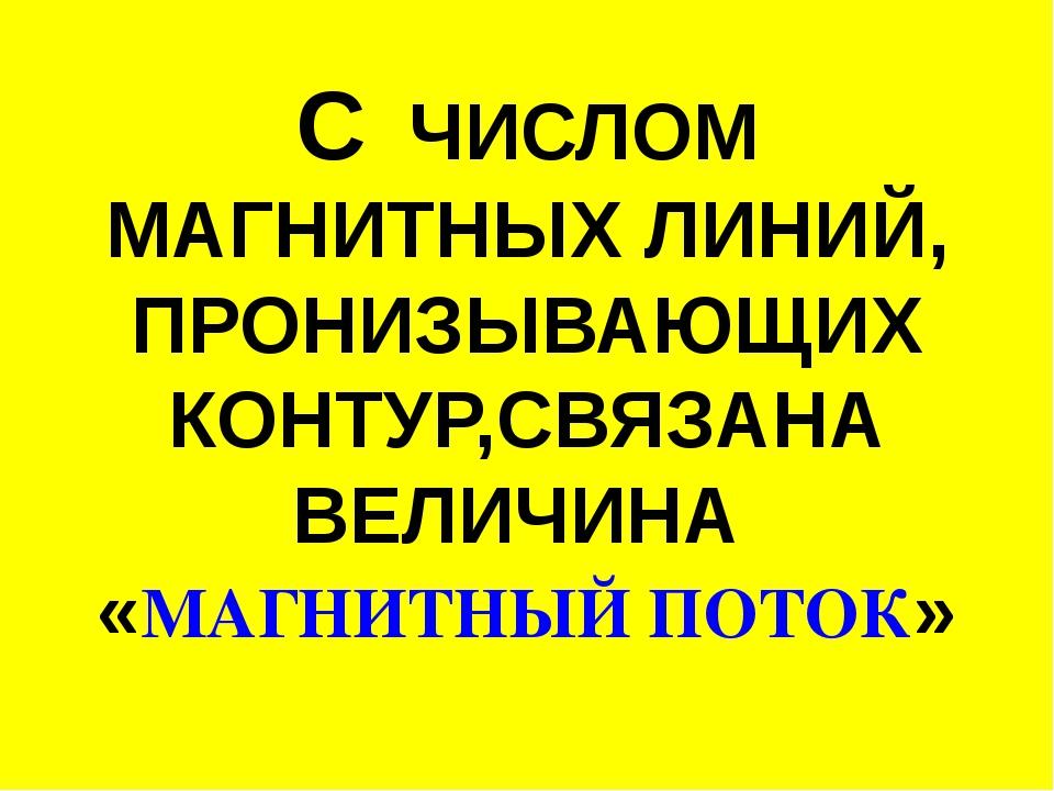 С ЧИСЛОМ МАГНИТНЫХ ЛИНИЙ, ПРОНИЗЫВАЮЩИХ КОНТУР,СВЯЗАНА ВЕЛИЧИНА «МАГНИТНЫЙ ПО...