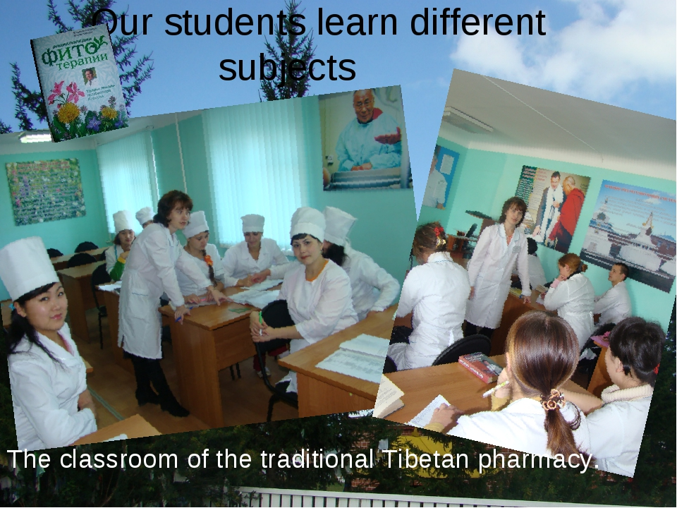 Our students learn different subjects The classroom of the traditional Tibeta...