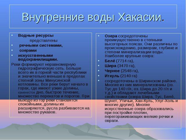 Внутренние воды Хакасии. Водные ресурсы представлены речными системами, озе...